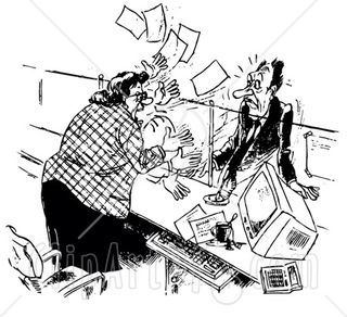 84419-Royalty-Free-RF-Clipart-Illustration-Of-A-Black-And-White-Sketch-Of-An-Angry-Receptionist-Freaking-Out-At-Her-Stumped-Boss