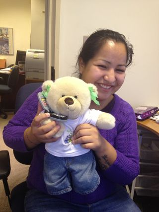 Isabelle with her wf360 bear